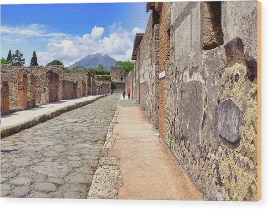 Mount Vesuvius And The Ruins Of Pompeii Italy Wood Print