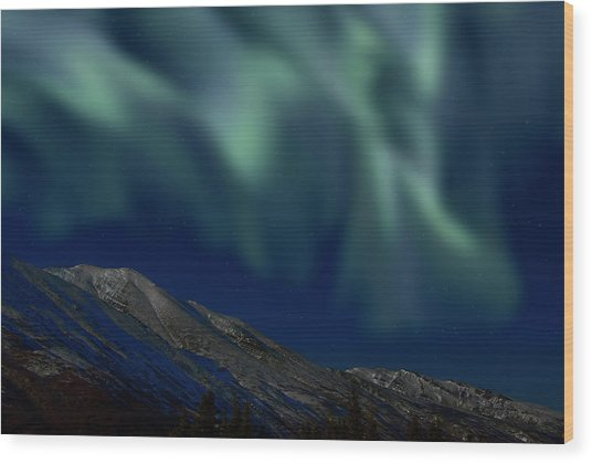 Mountain & Northern Lights Wood Print by Mark Newman