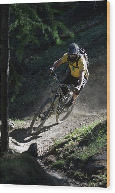 Mountain Biker On Dirt Path Wood Print by Michael Truelove