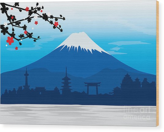 Mountain Fuji Japan Sakura View Wood Print