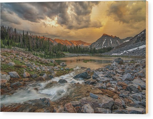 Mountain Glow Wood Print by Leland D Howard