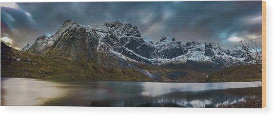 Mountain Lake In Norway On Lofoten Near Nusfjord Wood Print