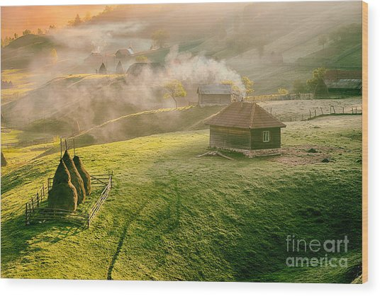 Mountain Landscape In Summer Morning Wood Print