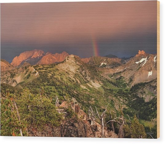 Mountain Light And Rainbow In The Tetons Wood Print by Leland D Howard