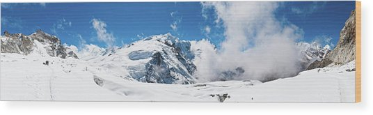 Mountaineers Climbing Snow Glacier Peak Wood Print by Fotovoyager