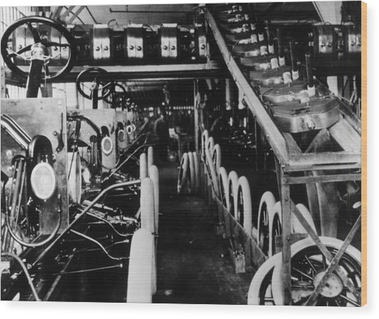 Moving Assembly Line Wood Print by Hulton Archive