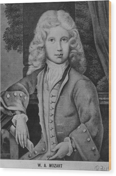Mozart As Child Wood Print by Hulton Archive