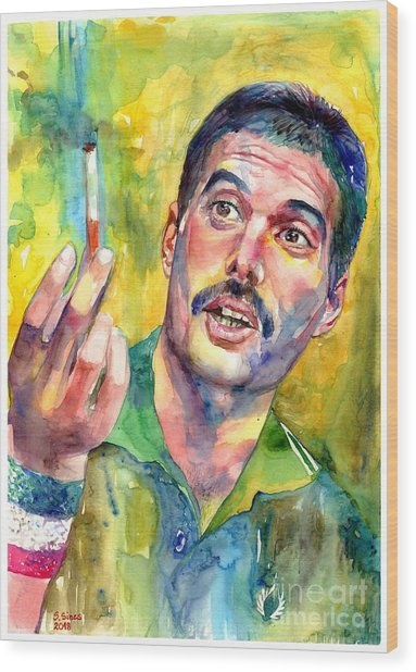 Mr Bad Guy - Freddie Mercury Portrait Wood Print