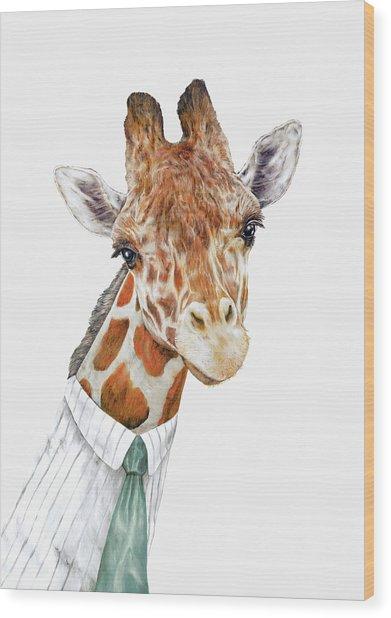 Mr Giraffe Wood Print