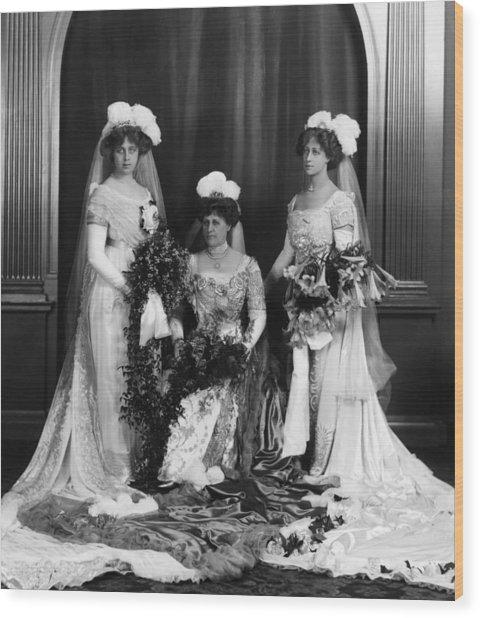 Mrs Lathams Wedding Wood Print by Hulton Archive