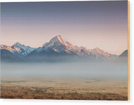 Mt Cook Emerging From Mist At Dawn, New Wood Print by Matteo Colombo