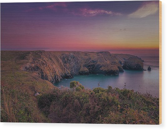 Mullion Cove Cornwall Sunset Wood Print