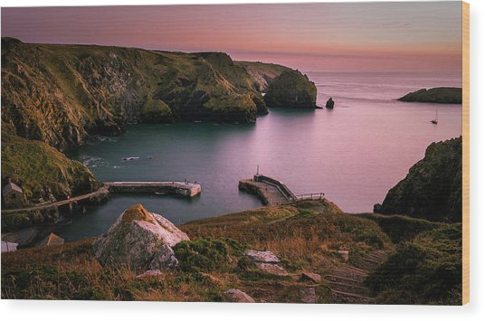Mullion Cove Sunset - Cornwall General View Wood Print