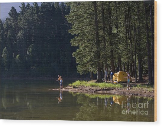 Multi-generational Family On Camping Wood Print