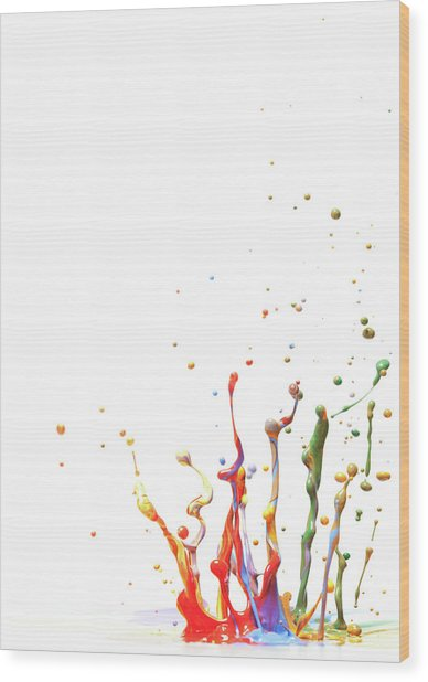 Multicolor Paint Splash Against A White Wood Print by Banksphotos