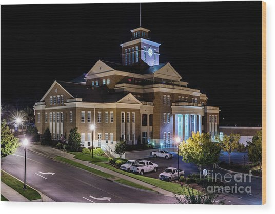 Municipal Center At Night - North Augusta Sc Wood Print