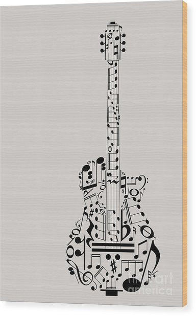 Music Guitar Concept Made With Musical Wood Print