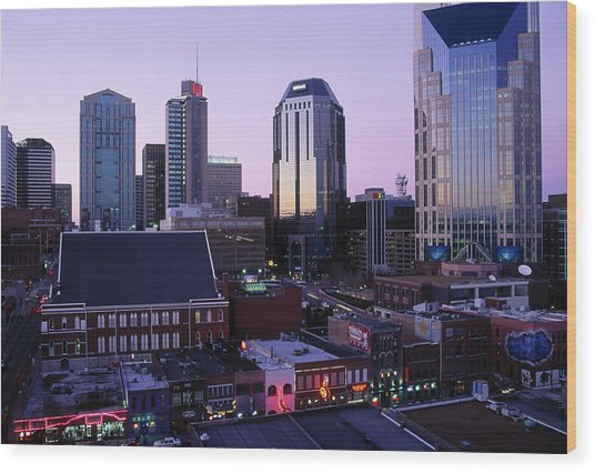 Music Row, Ryman Auditorium And Skyline Wood Print
