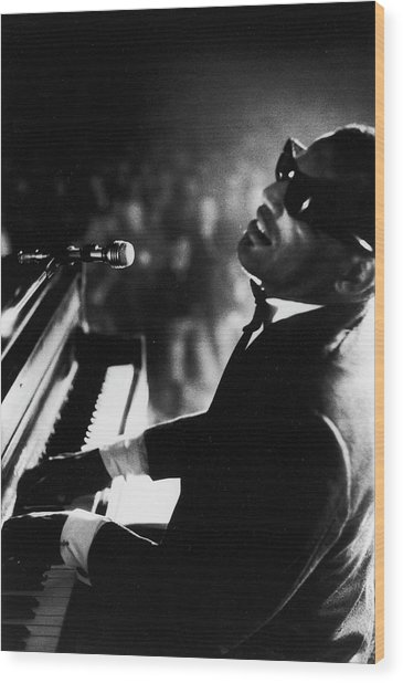 Musician Ray Charles Playing Piano In Wood Print by Bill Ray