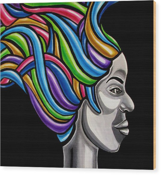 Colorful 3d Abstract Painting, Black Woman, Colorful Hair Art Artwork - African Goddess Wood Print