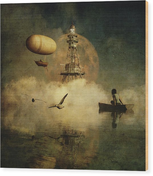 My Dream About The Lighthouse Wood Print