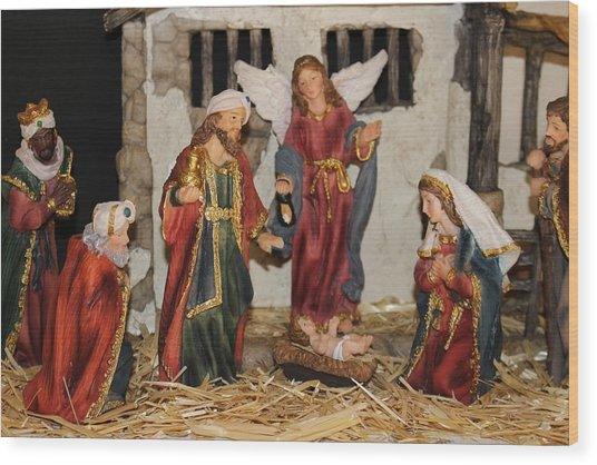 My German Traditions - Christmas Nativity Scene Wood Print