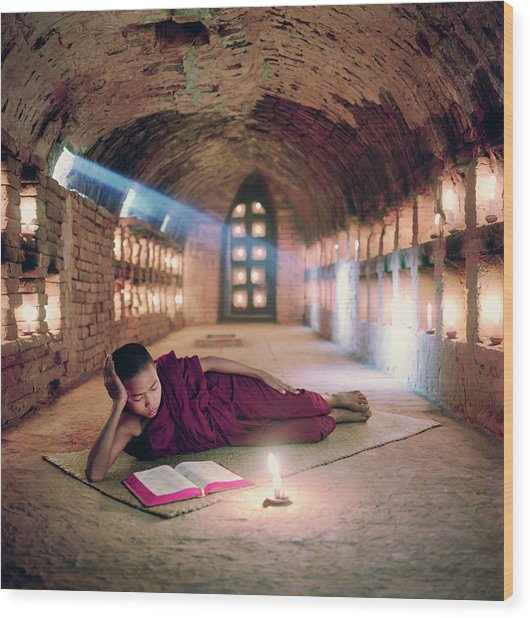 Myanmar, Buddhist Monk Inside Wood Print