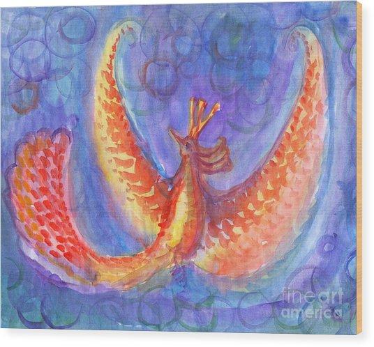 Mystical Phoenix Wood Print