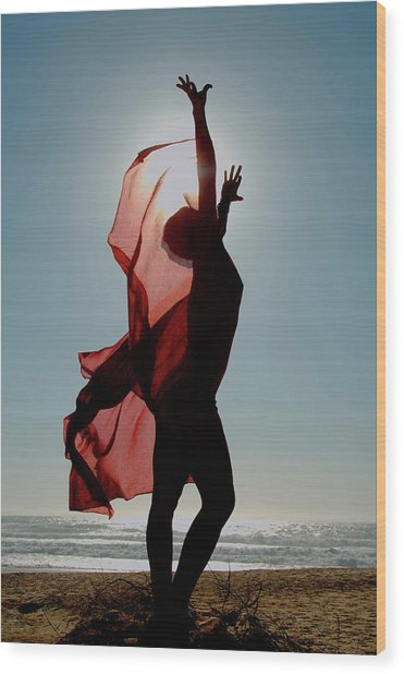 Naked Woman Dancing With Red Material Wood Print