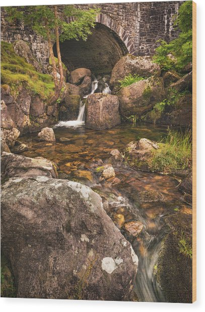 Wood Print featuring the photograph Nant Gaws Waterfall And Old Stone Bridge by Elliott Coleman