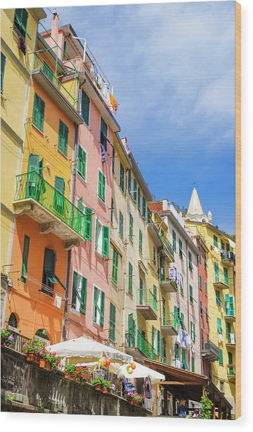 Narrow Street And Colorful Houses Wood Print by Russ Bishop