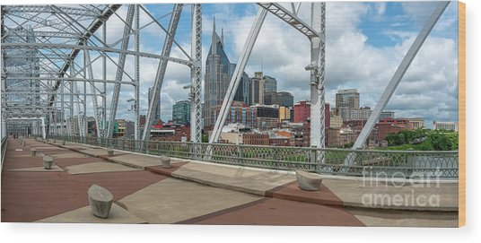 Nashville Cityscape From The Bridge Wood Print