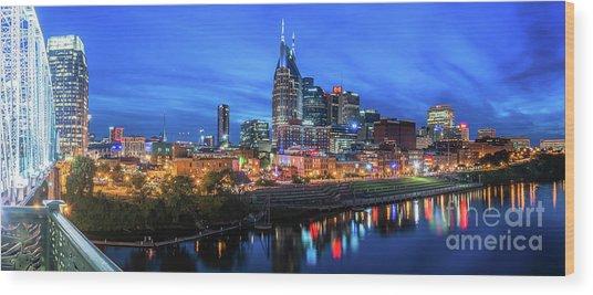 Nashville Night Wood Print