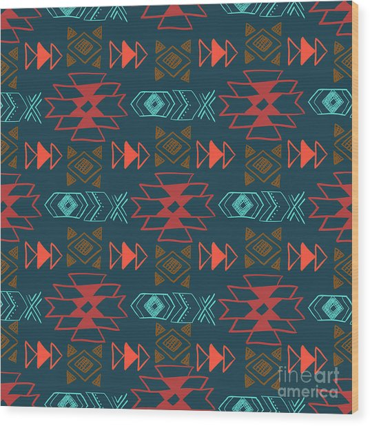 Native American Seamless Pattern With Wood Print