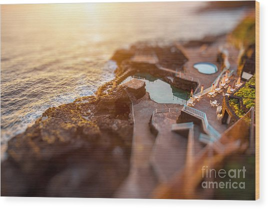 Natural Pools In Charco Azul Resort On Wood Print