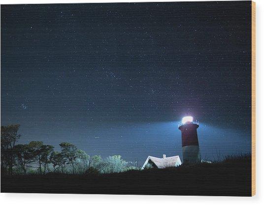 Nauset Light Under The Stars Wood Print