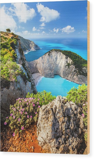 Navagio Bay Wood Print