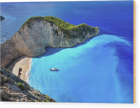 Navagio Beach, Zakynthos Island, Greece Wood Print by Rusm