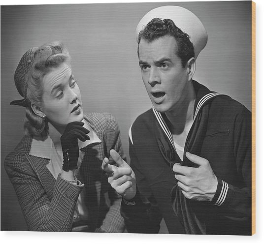 Navy Couple Wood Print by George Marks