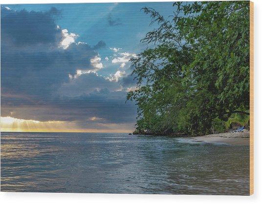 Negril Beach Sunburst At Sunset Wood Print