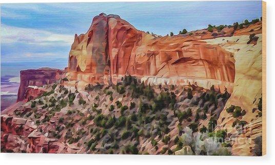 Neighboring Mesa Arch - Photopainting Wood Print by Bob Lentz