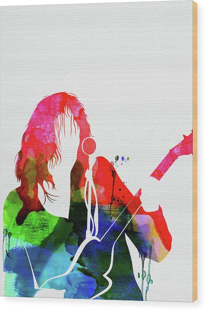 Neil Young Watercolor Wood Print