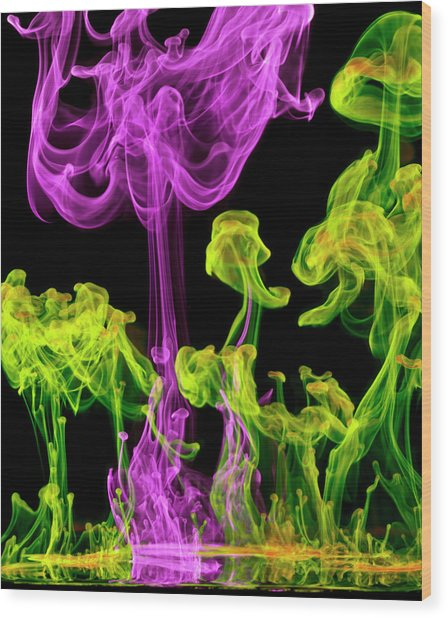 Neon Glowing Liquids Wood Print