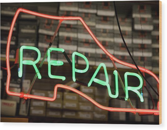 Neon Shoe Repair Sign Wood Print by Frederick Bass