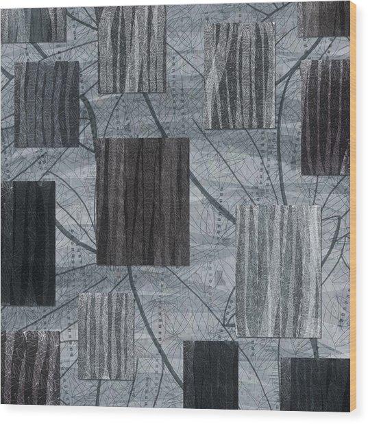 Neutral Toned Leaf Square Print Wood Print