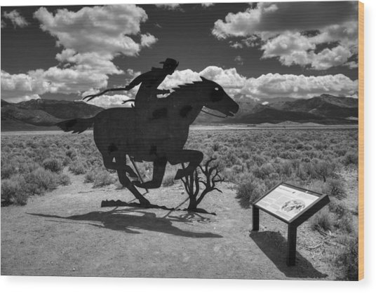 Nevada - Pony Express Monument 001 Bw Wood Print by Lance Vaughn
