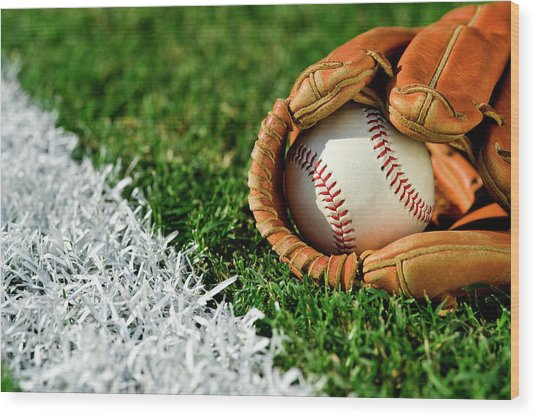 New Baseball In Glove Along Foul Line Wood Print by Cmannphoto