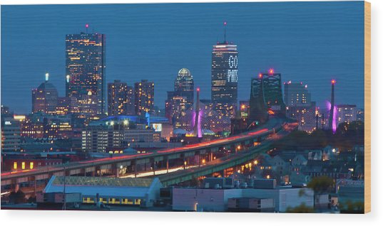 New England Patriots - Boston Skyline Wood Print