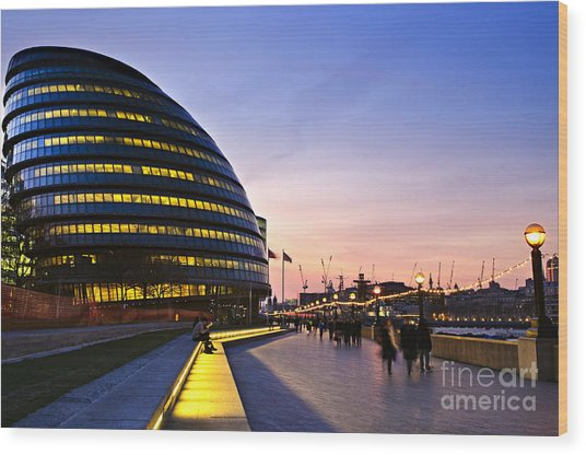 New London City Hall At Night With Wood Print