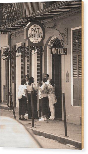 New Orleans Bourbon Street 2004 #44 Sepia Wood Print